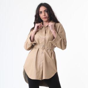 giacca ecopelle con cintura