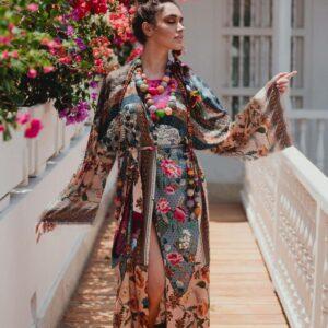 capispalla kimono lungo multicolor