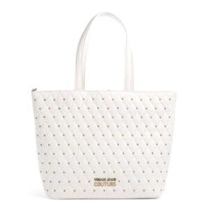 Tote bag bianca con borchie