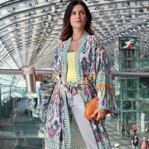kimono stampa etnica colorata
