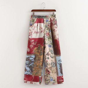 pantalone wide leg patchwork colorato