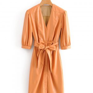 Long orange eco-leather dress