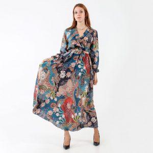 Long dress with geisha pattern